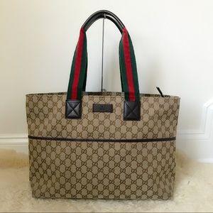 Authentic Gucci GG Supreme Web Strap Tote Large